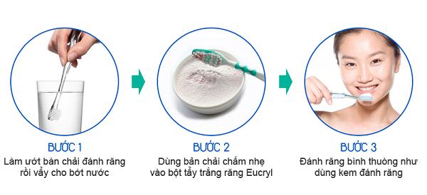 Các bước sử dụng bột tẩy trắng răng Eucryl